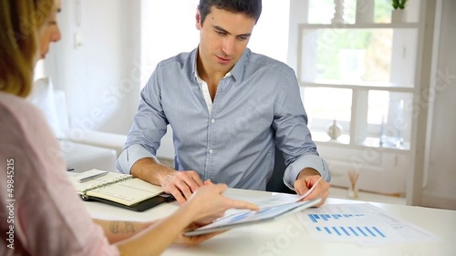 Woman meeting business partner for project
