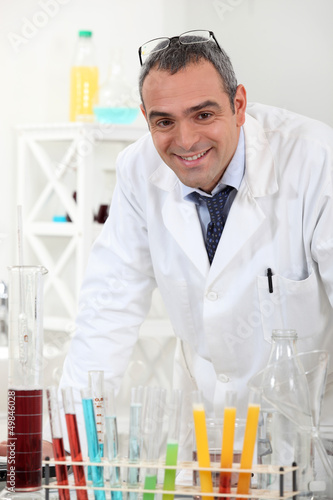 Man in chemical laboratory