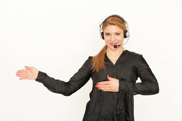 junge Frau mit Headset