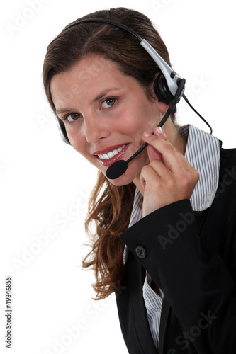 Secretary wearing a headset