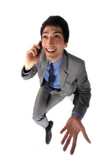 businessman talking on his cell
