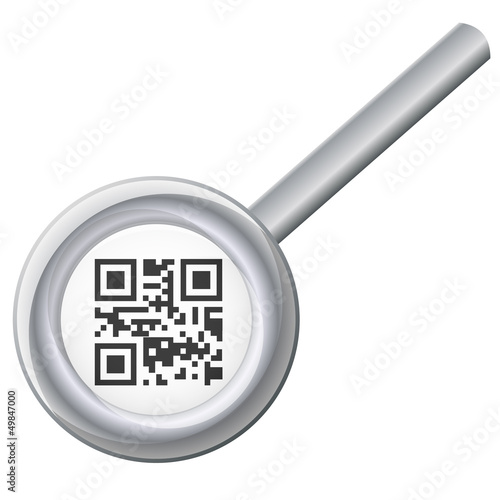 qr code under magnifying glass