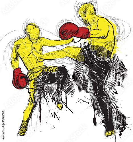 Fototapeta Muay Thai (martial art from Thailand) - hand drawing into vector