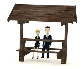 3d render of cartoon character on forest seat