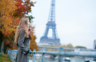 Romantic girl in Paris on a fall day