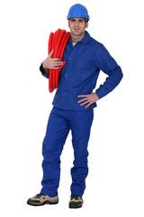 plumber posing
