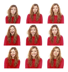 girl emotional attractive set make faces isolated on white backg