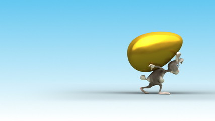 Easter Rabbit's gait. 3 variations. 3d animation.