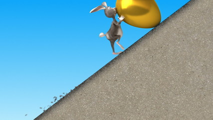 Easter Rabbit  walking in mount. 3d animation.