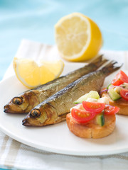 Smoked fish with bruschetta