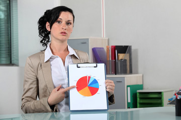 Woman explaining pie-chart