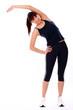 Happy caucasian woman exercising
