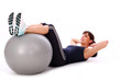 Happy caucasian woman with fitness ball