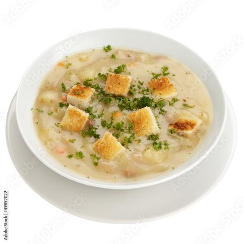 Kartoffelsuppe mit Brotcroutons