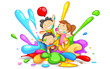 Kids playing Holi