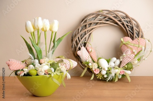 The spring decoration placed on the wood desk.