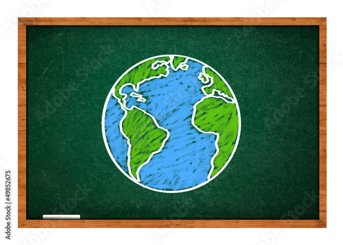 Earth on green school chalkboard