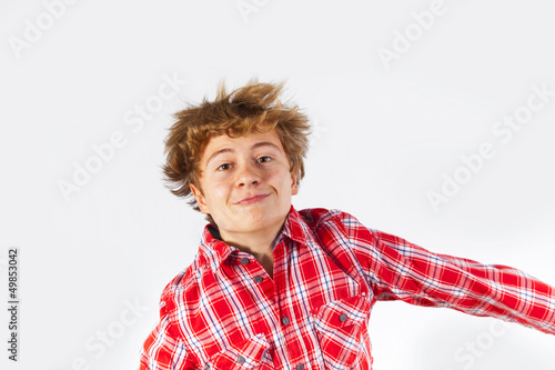 jumping boy in studio
