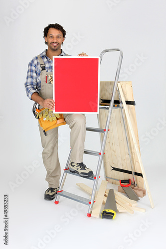 Craftsman with tools and red panel