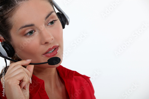 beautiful brunette with headset