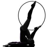 Rhythmic Gymnastics with hula hoop woman silhouette poster