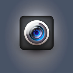 User interface white camera lens icon