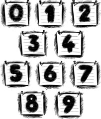 numbers on note paper