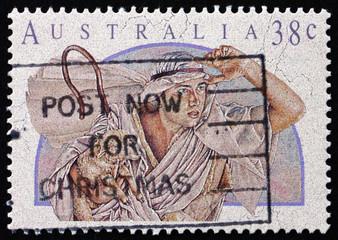 Postage stamp Australia 1991 Shepherd, Christmas