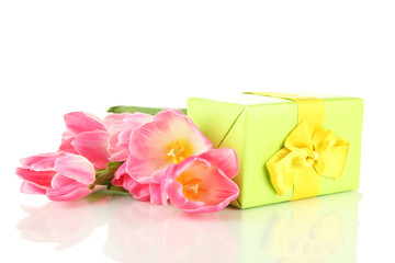 Pink tulips and gift boxes, isolated on white