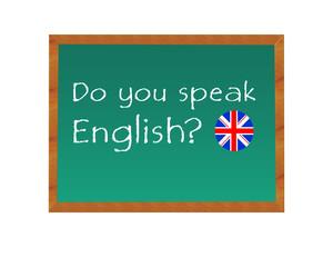 Pizarra con el texto de Hablas Inglés en idioma inglés