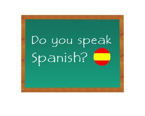 Pizarra con el texto de Hablas Español en idioma inglés