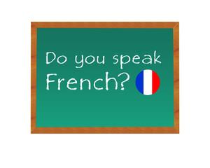 Pizarra con el texto de Hablas Francés en idioma inglés