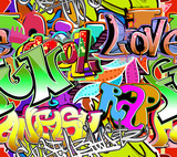 Fototapeta Teenage - Graffiti wall. Urban art vector background. Seamless pattern © Banana Republic