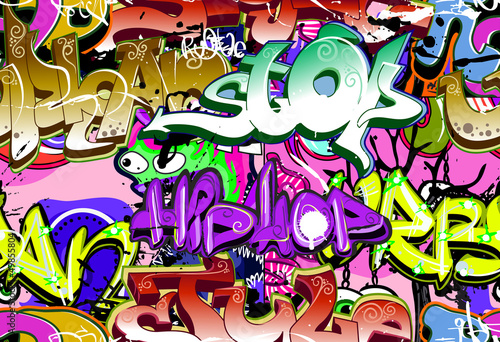 Ściana graffiti. Tło wektor sztuki miejskiej. Bezszwowy wzór