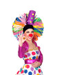 Funny girl clown with a big colorful wig saying Ok