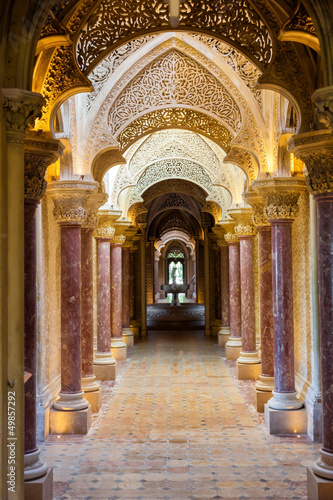 Poster Fairytale corridor of Monserrate Palace in Sintra town, Portugal