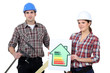 Construction workers holding an energy efficiency rating chart