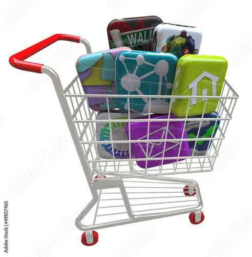 Apps - Application Software Icons in Shopping Cart
