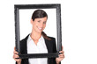 Businesswoman holding picture frame