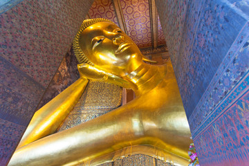 Reclining Buddha in Wat Pho temple in Bangkok, Thailand