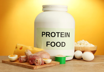 jar of protein powder and food with protein,