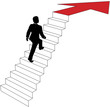 Business man climbs up arrow stairs
