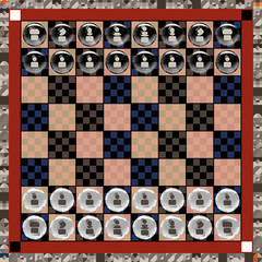 Vivid Chess Board With Figurines Symbols