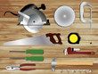 Vector Carpentry tools on wooden texture background