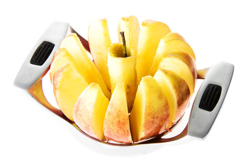Fresh apple sliced with slicer