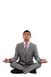 Businessman meditating
