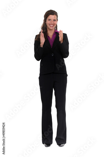 Elegant woman clapping her hands