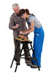 Man and woman doing carpentry work