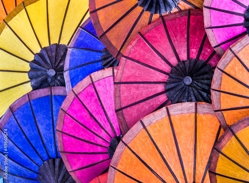 Multicolored Umbrellas at Night Market - South East Asia