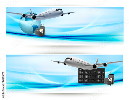 Two travel banners with with airplane on blue sky.